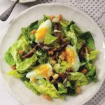 Lettuce, Anchovy, Egg, and Crouton Salad with a Creamy Vinaigrette